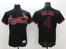 mens majestic st.louis cardinals #4 yadier molina black fashion v-neck Flex Base jersey