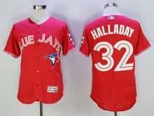 mens majestic toronto blue jays #32 roy halladay red Flex Base jersey