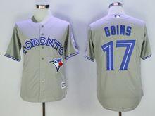 mens majestic toronto blue jays #17 ryan goins gray Flex Base jersey