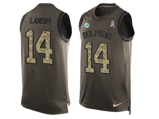 mens nfl miami dolphins #14 jarvis landry Green salute to service limited tank top jersey