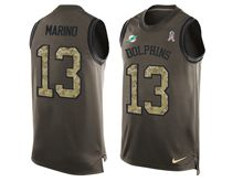 mens nfl miami dolphins #13 dan marino Green salute to service limited tank top jersey