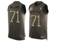 mens nfl washington redskins #71 trent williams Green salute to service limited tank top jersey
