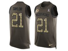mens nfl washington redskins #21 sean taylor Green salute to service limited tank top jersey