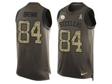mens nfl pittsburgh steelers #84 antonio brown Green salute to service limited tank top jersey