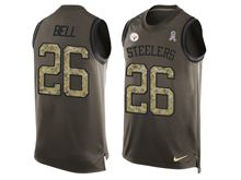 mens nfl pittsburgh steelers #26 le'veon bell Green salute to service limited tank top jersey
