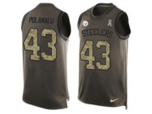 mens nfl pittsburgh steelers #43 troy polamalu Green salute to service limited tank top jersey