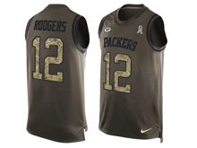 mens nfl green bay packers #12 aaron rodgers Green salute to service limited tank top jersey