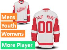 Mens Women Youth Reebok Detroit Red Wings White Current Player Jersey