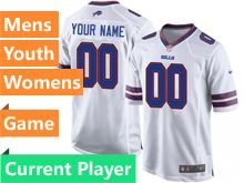 Mens Women Youth Nfl Buffalo Bills White Game Current Player Jersey