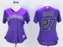 Women Mlb Colorado Rockies #27 Trevor Story Purple Jersey