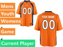 Mens Women Youth Nfl Denver Broncos Orange Game Current Player Jersey