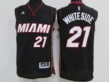 Mens Nba Miami Heat #21 Hassan Whiteside Black White Name Jersey