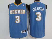 Mens Nba Denver Nuggets #3 Allen Iverson Light Blue Throwback Jersey