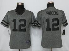 Women   Green Bay Packers #12 Aaron Rodgers Gray Gridiron Limited Jersey