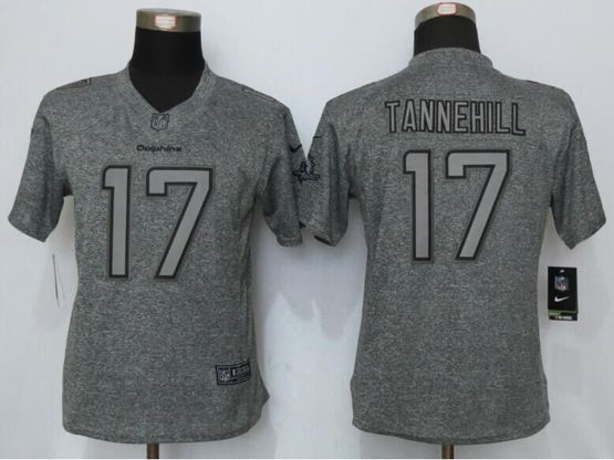 Women   Miami Dolphins #17 Ryan Tannehill Gray Gridiron Limited Jersey