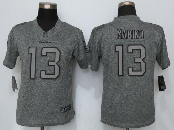 Women   Miami Dolphins #13 Dan Marino Gray Gridiron Limited Jersey