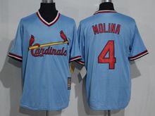 Mens Mlb St.louis Cardinals #4 Yadier Molina Blue Pullover Throwbacks Jersey