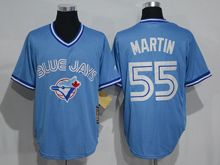 Mens Mitchell&ness Mlb Toronto Blue Jays #55 Russell Martin Light Blue Throwbacks Jersey