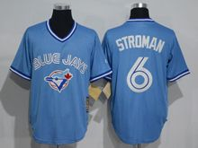 Mens Mitchell&ness Mlb Toronto Blue Jays #6 Marcus Stroman Light Blue Throwbacks Jersey