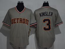 Mens Mlb Detroit Tigers #3 Ian Kinsler Gray Throwbacks Jersey(sn)