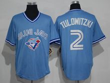 Mens Mitchell&ness Mlb Toronto Blue Jays #2 Troy Tulowitzki Light Blue Throwbacks Jersey