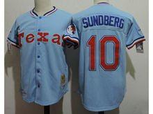Mens Mlb Texas Rangers #10 Jim Sundberg Light Blue Throwbacks Jersey