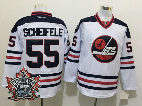 Mens Reebok Winnipeg Jets #55 Mark Scheifele White 2016 Winter Classic Jersey