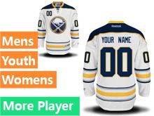 Mens Women Youth Reebok Buffalo Sabres White Away Premier Current Player Jersey