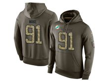 mens nfl miami dolphins #93 ndamukong suh green olive salute to service Hoodie