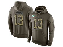 mens nfl miami dolphins #13 dan marino green olive salute to service Hoodie