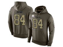 mens nfl pittsburgh steelers #84 antonio brown green olive salute to service Hoodie