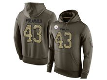 mens nfl pittsburgh steelers #43 troy polamalu green olive salute to service Hoodie