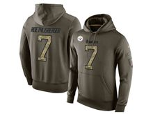 mens nfl pittsburgh steelers #7 ben roethlisberger green olive salute to service Hoodie