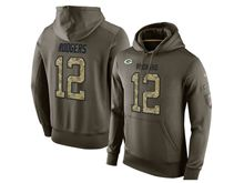 mens nfl green bay packers #12 aaron rodgers green olive salute to service Hoodie