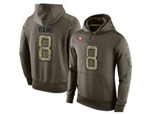 mens nfl san francisco 49ers #8 steve young green olive salute to service Hoodie