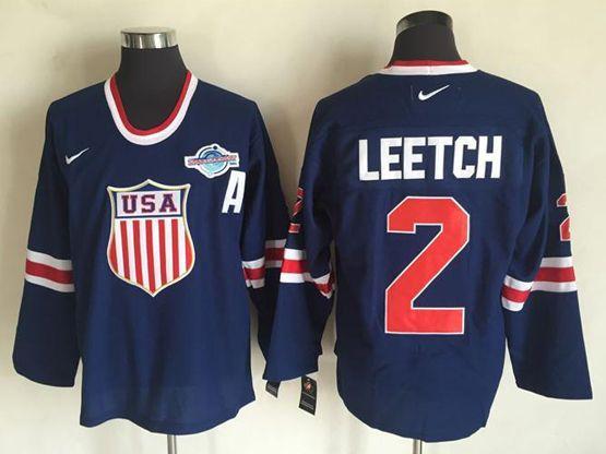 Mens Nhl Team Usa #2 Brian Leetch Blue (2016 Olympics) Throwback Jersey