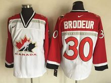 Mens Nhl Team Canada #30 Martin Brodeur White (2002 Olympics) Throwback Jersey