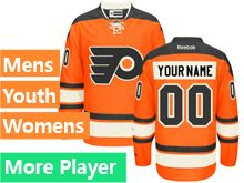 Mens Women Youth Reebok Philadelphia Flyers Orange Alternate Premier Current Player Jersey