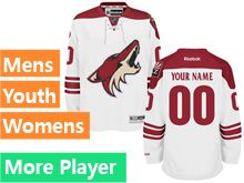 Mens Women Youth Reebok Arizona Coyotes White Away Premier Current Player Jersey