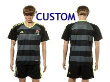 Mens Soccer Wales Natioal Team Custom Black Eurocup 2016 Away Jersey