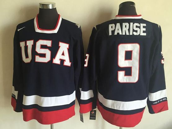 Mens Nhl Team Usa #9 Zach Parise Blue Jersey