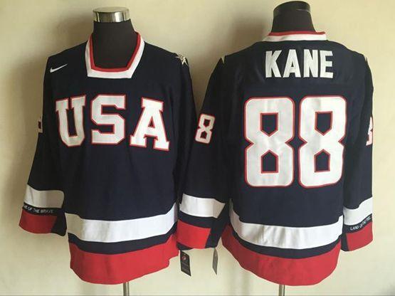 Mens Nhl Team Usa #88 Patrick Kane Blue Throwbacks Jersey