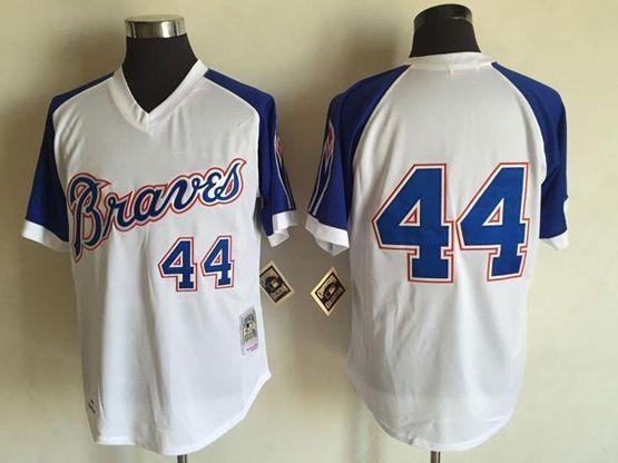 Mens Mlb Atlanta Braves #44 Hank Aaron White&blue Sleeve 1974 Throwbacks Jersey(no Name)