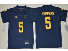 Mens Ncaa Nfl Jordan Brand Michigan Wolverines #5 Jabrill Peppers Navy Blue Limited Jersey