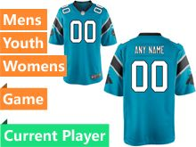Mens Women Youth Nfl Carolina Panthers Blue Game Current Player Jersey