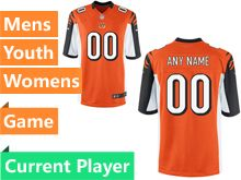 Mens Women Youth Nfl Cincinnati Bengals Orange Game Current Player Jersey
