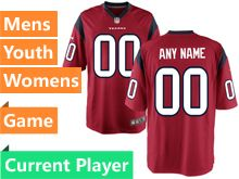 Mens Women Youth Nfl Houston Texans Red Game Current Player Jersey