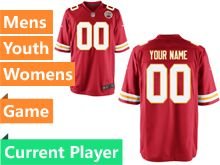 Mens Women Youth Nfl Kansas City Chiefs Red Game Current Player Jersey