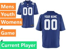 Mens Women Youth Nfl New York Giants Blue Game Current Player Jersey