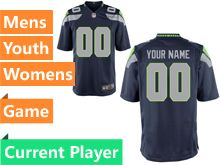 Mens Women Youth Nfl Seattle Seahawks Blue Game Current Player Jersey